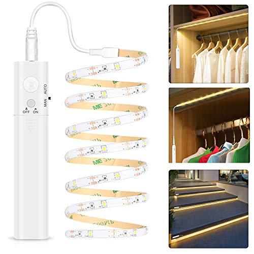 LED Band mit Bewegungsmelder - Warmweiß, Kleiderschrank Beleuchtung Stripe, Bewegungssensor Licht Leiste, Überall Aufkleben Nachtlicht für Schlafzimmer, Treppe, Schrank(1 pack   Batterie)