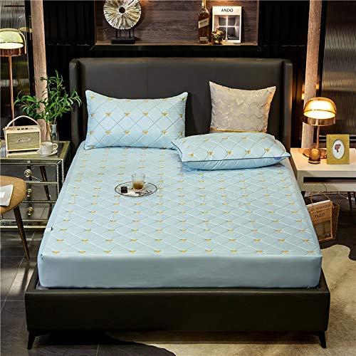 haiba Sábana bajera ajustable para cama doble, 100% algodón puro con diseño extra profundo, sábana bajera ajustable de 150 x 200 + 20 cm