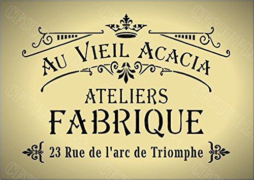 Schablone, A4, Shabby-Chic-Stil, französischer Text, für Möbel, Stoff, Glas, wiederverwendbares Mylar mit einer Dicke von 190Mikrometer (142)