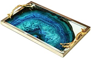 HLBJ Decoration Nordic Luxury Metal Glass Blue Agate Stone Pattern Tray Storage Tray
