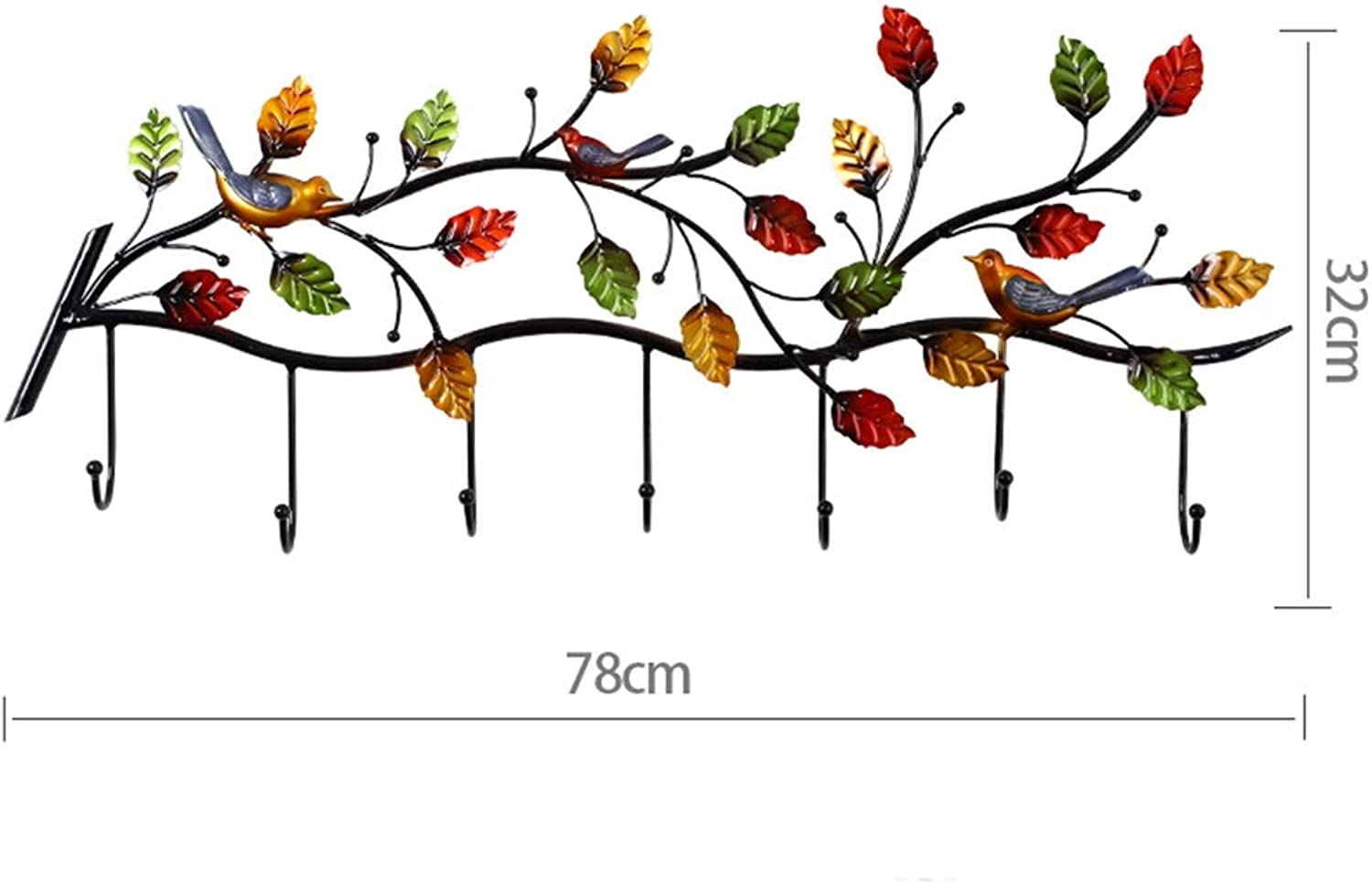 Tingting-Wall Mounted Coat Rack Metal colord Branches Decoration Bedroom Living Room Kitchen Hall (color   Bird, Size   78  32)