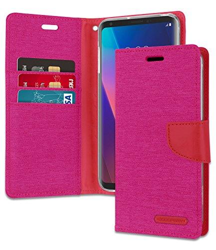 Mercury Canvas Wallet for LG V30   V30S   V30 Plus Case (2017) Denim Stand Flip Cover (Pink) LGV30-CAN-PNK
