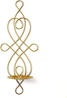 w5bhj88 Set of 2 Wall Candle Sconces, Iron Hanging Wall Mounted Decorative Tealight Candle Holder for Living Room, Bedroom,Wedding Party, Events Decorations(Gold)