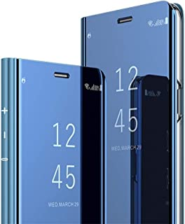 HMTECH Samsung Galaxy Note 8 case Design Clear View Slim Luxury Shiny Electroplate Plating Mirror Full Body Protective Flip Folio Stand Cover for Samsung Galaxy Note 8 PU Mirror:Blue MX