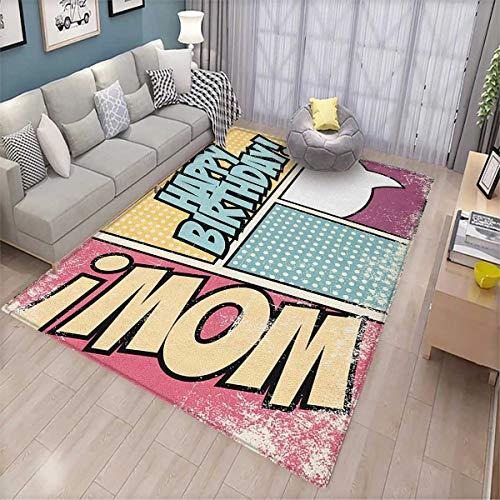Birthday, Children Kids Nursery Rugs Floor Carpet, Comic Book Style Grunge Pop Art Effect Energy Boom Cartoon Style Retro, Bath Mat Non Slip 6'6'x9' Yellow Pink and Blue