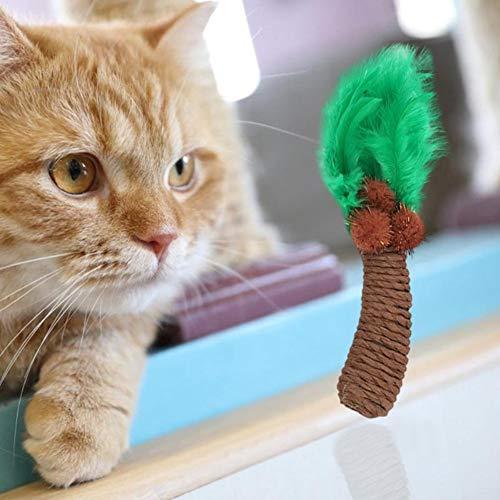 Danigrefinb Teaser Wand Veer Speelgoed voor Huisdier Katten Kitten Veer Kokosnoot Boom Vorm Molar Bite-resistente Teasing Speelgoed, Eén maat, Groene koffie