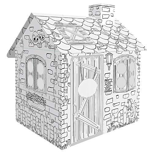 TikTakToo Spielhaus Malhaus aus Pappe Rattan House Pappspielhaus zum Bemalen und Dekorieren inklusive Stifte Haus Spielzeug Karton