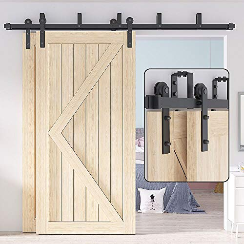 WINSOON Double Bypass Sliding Barn Door Hardware 9ft/108 inch Kit for Cabinet Bedroom,U-Shape Bracket Low Ceiling,I Shape Hanger,Rustic Black Heavy Duty, Simple and Easy to Install