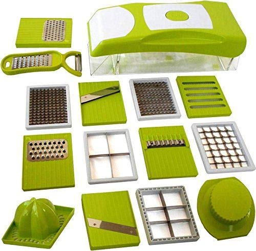 Zidax 15 in 1 Multi-Functional Vegetable Cutter Food Chopper & Cheese Grater Kitchen Set with Interchangeable Blades Drain Basket Container
