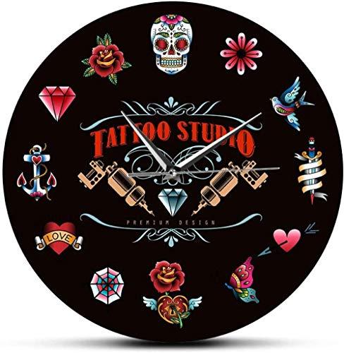 Reloj De Pared Estudio De Tatuajes Reloj De Pared Negro Sin Tictac Estilo Vintage Hipster Hombres Salón Estudio Tatuador Artista Regalo Silencioso Fácil De Leer