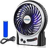 efluky USB Ventilator Leise Mini Handventilator Ventilatoren Lüfter mit Batterie Farbe für Außenbereich, Büro, Strand und Camping (Schwarz)