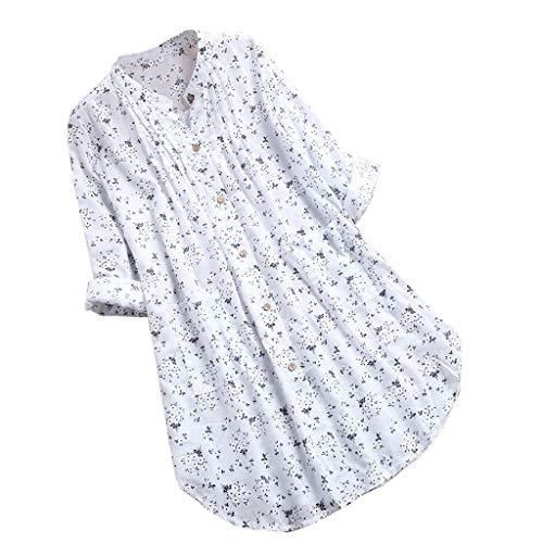 Camisa Mujer Playa Cuello Redondo Manga Larga Suelto algodón y Lino Camiseta Elegantes Arriba Casual Top Oficina Basica Primavera y Verano riou (Blanco, XXXXL)