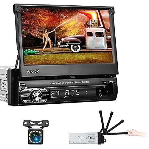 NHOPEEW Singolo Din Autoradio Android 10.1 Car Stereo Flip Touch Screen con Bluetooth FM RDS DAB+ WiFi e Navigazione GPS Mirror Link USB DVR SWC per Telefono Cellulare + Fotocamera di BackupAutoradio