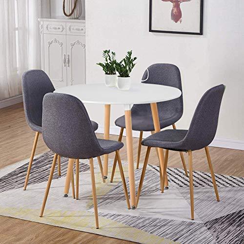 GOLDFAN Esstisch mit 4 Stühlen Esstisch Rund Holz Esszimmerstuhl aus Stoff für Wohnzimmer Esszimmer Küche, Weiß + Grau
