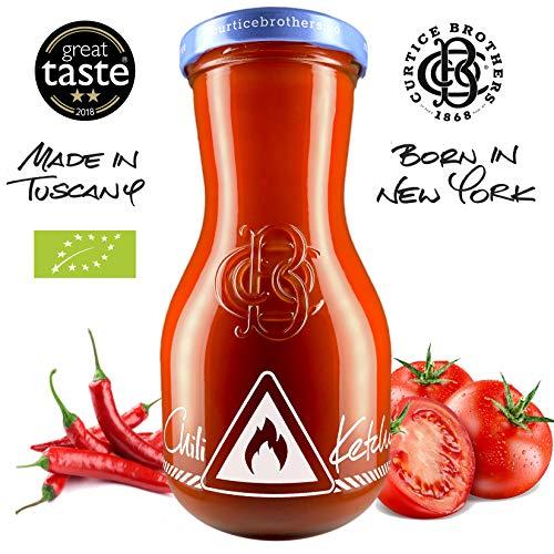 Curtice Brothers 12er-Pack Organic Chili Tomato Ketchup - BIO Ketchup aus der Toskana mit 77% Tomaten Anteil und feuriger Chili-Note - 12 x 300g