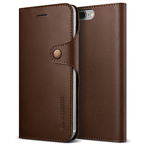 Urcover Custodia Portafoglio Native Diary VRS Apple iPhone 7/8 Plus, Cover Protettiva in Ecopelle e con Chiusura a Clip, Wallet con Porta Carte in Marrone Scuro