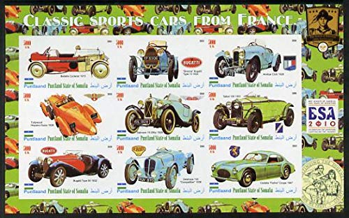 Puntland State of Somalia 2010 Classic Sports Cars of France with Scouts Logos imperf sheetlet 9 values u/m CARS SCOUTS BUGATTI TALBOT DELAHAYE JandRStamps