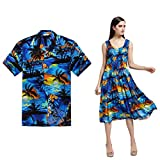 Couple Matching Hawaiian Luau Aloha Shirt Elastic Tank Dress in Sunset Blue XL