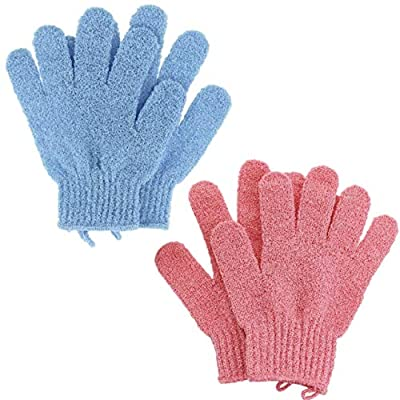Exfoliating Gloves by Fine Lines - A Body Scrub Exfoliator - An Exfoliating Glove to us in the Shower or Bath (2 Pack - Blue & Pink)
