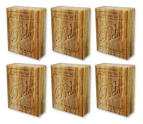 Bela Bath & Beauty, Sandalwood, Triple French Milled Moisturizing Soap Bars, No Harsh Ingredients, 3.5 oz each - 6 Pack