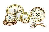 Le Cadeaux 16 Piece Luxury Melamine Dinnerware Set, Service for 4 (Toscana)