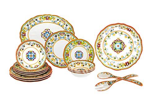 Le Cadeaux 16 Piece Luxury Melamine Dinnerware Set Service for 4 Toscana
