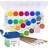 Primo - Caja de acuarela (24 colores, color blanco, pincel, vaso de agua, colores opaco)
