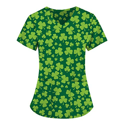 BUKINIE Womens Carers Uniform Tunic, Clover Printed Pullover Scrubs Blouses Healthcare Tops Shirt Shamrock Workwear for Women St Patricks Day