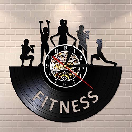 LIMN Levantamiento de Pesas Fitness decoración de la habitación de Las Mujeres Gym Reloj de Registro de Vinilo Efecto de Levantamiento de Pesas Club Deportivo Bodybuilding Studio Watch Flexible