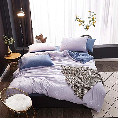 SMYUI Simple Polyester Four-Piece Bedding Bed Linen Quilt Cover Available For All Seasons-Cute Rabbit_2.0M