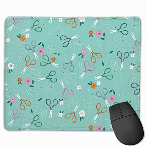 Tijeras y flores Diseños de personalidad antideslizantes Alfombrilla de ratón para juegos Tela negra Rectángulo Alfombrilla de ratón Alfombrilla de ratón de caucho natural con bordes cosidos