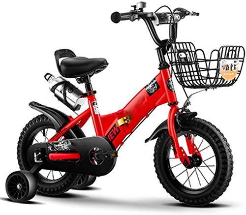 Bicicleta para Niños y Niñas Bicicleta niños 14-18 Pulgadas de la Bicicleta con Las Ruedas de Entrenamiento for niños de 3 a 7 años de Edad Niños y Niñas (Color : Red, Size : 18inch)