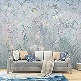 MILUSEN Papel pintado de flores y pájaros Flores de bosque Murales Papel tapiz de la sala Revestimiento de paredes sin costuras Azul