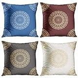 Juego de 4 fundas de almohada para decoración del hogar de Marsala, azul y gris, diseño de mandala loto abstracto geométrico lunares modernos con patrón de círculo, fundas de almohada de 45 x 45 cm