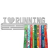 United Medals I Love Running Medalla Percha | Acero Cepillado (43cm / 48 Medallas) Soporte para Medallas Deportivas