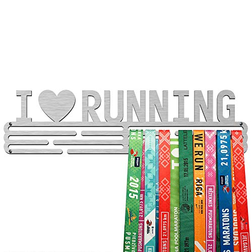 United Medals Porta Medaglie I Love Running | Espositore in Acciaio Inossidabile (43cm / 48 Medaglie)