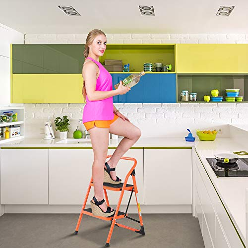 LUISLADDERS Step Ladder 2 Step Stool Fold Sturdy Steel Ladder 330lbs EN131 Portable Anti-Slip and Wide Pedal Ladder Multi-Use for Home,Garden and Office