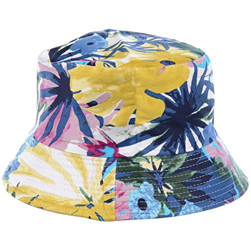 BYOS Fashion Packable Reversible Black Printed Fisherman Bucket Sun Hat, Many Patterns (Watercolor Flower Multi)