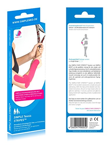 2x Sparpack SIMPLE MED PREMIUM Kinesiologie Tennisarm Tape Precut Set für die Selbst-Anwendung am Arm bzw. Unterarm und Ellenbogen - Sport Tape bereits vorgeschnitten, inklusive Anleitung
