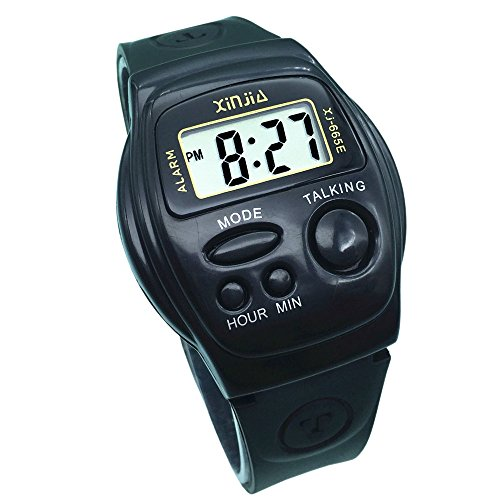 Digitale Sprechende Armbanduhr mit Sound in italienischer Sprache mit Wecker und Uhrzeitberichtung, für Kinder und Nicht-Verkehrsteilnehmer EU665-IT
