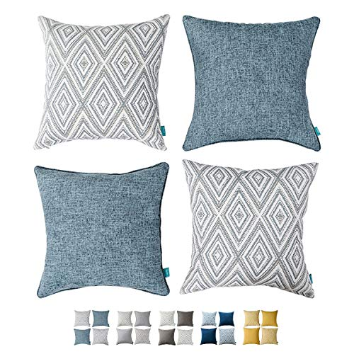 HPUK Throw Pillow Covers Set of 4 for Couch Sofa Cushion Covers for Living Room Bedroom Square Pillows 17x17, Blue
