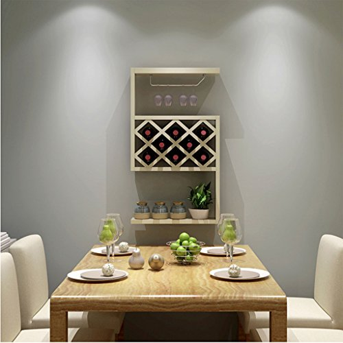 Lowest Price! Betty Wine Cabinet Hanging Restaurant Wine Rack Lattice Suspension (Color : White Mapl...
