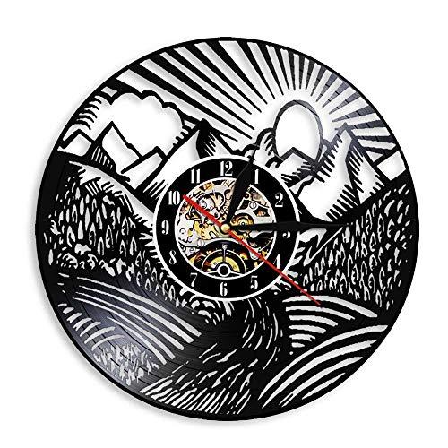 YANGSHUANG Handmade Vinilo Pared Reloj Montaña del Amanecer Reloj de Pared de Vinilo Reloj de Pared de Arte Creativo Hecho a Mano, Movimiento de Cuarzo silencioso, diámetro 30 cm