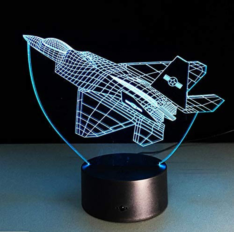 BMY J20 Fighte3D Night Light Novelty Led Plane Shape Table Lam3D Light Touch Switch Jet Night Light Kids Gift