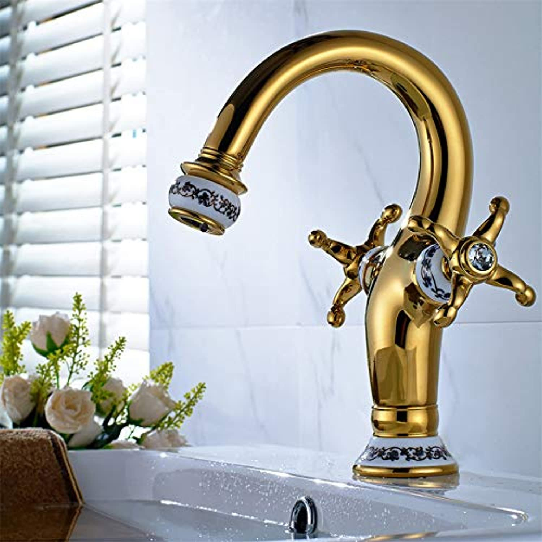 ROTOOY Wasserhhne Kupfer-Blau Und Wei Porzellan Zweihndig Rad Heies Und Kaltes Wasser Bad Waschbecken Wasserhahn Gold Keramik Waschbecken Wasserhahn