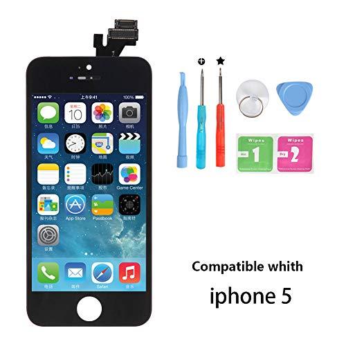 Rarlon Display Compatible with iPhone 5-Schwarz LCD Bildschirm Ersatz Für Touchscreen Glas Reparaturset Ersatz Einschließlich Kostenlose Werkzeug(5G-Schwarz)