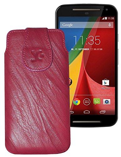 Suncase Tasche für / Motorola Moto G 4G LTE (2. Gen.) / Leder Etui Handytasche Ledertasche Schutzhülle Hülle Hülle / in wash-pink