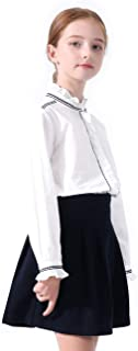 Girls White Blouse Ruffle Long Sleeve Button Down Shirts Princess Cotton Loose Soft Tops Spring and Summer 3-14Y