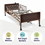 Full Electric Hospital Bed with Premium Foam Mattress and Half Rails Included - for Home Care Use and Medical Facilities - Fully Adjustable, Easy Transport Casters, Remote - 80' x 36'