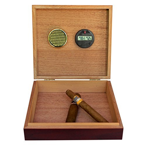 CASE ELEGANCE Digital Hygrometer with Cherry Finish Spanish Cedar Humidor and Embedded Magnetic Seal
